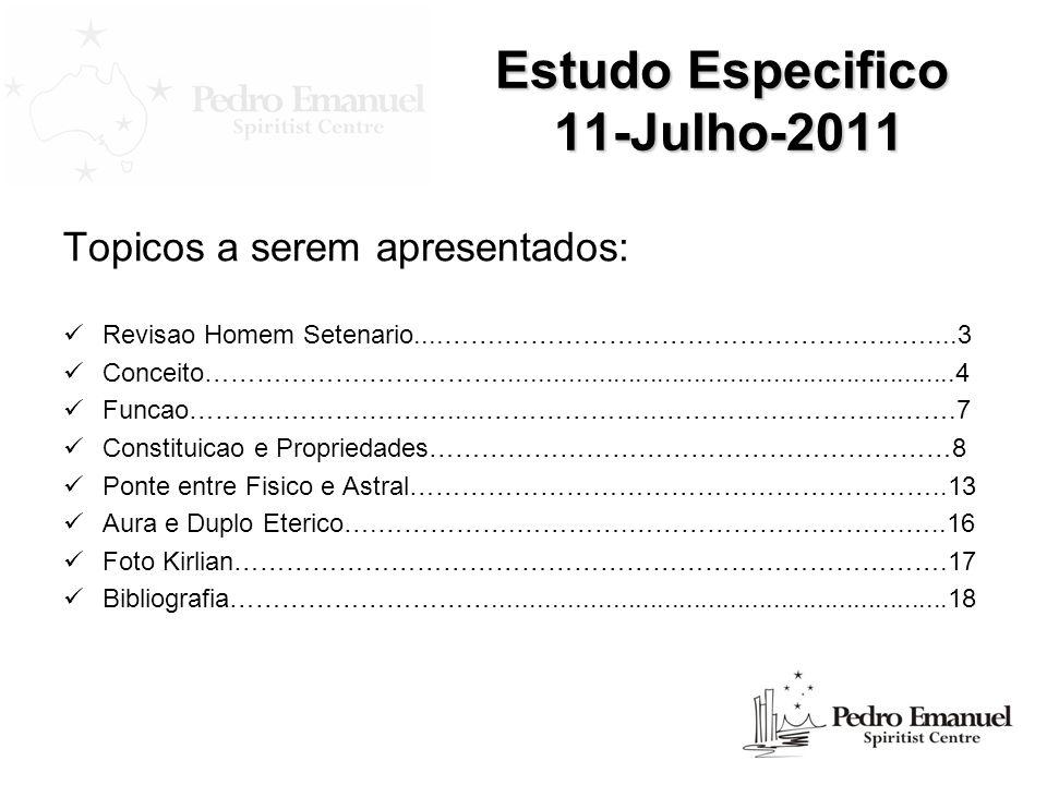 Estudo Especifico 11-Julho-2011 Topicos a serem apresentados: Revisao Homem Setenario....…….………………………………….…...…....3 Conceito……………….…………….............