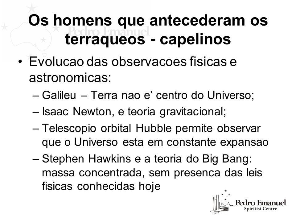 Os homens que antecederam os terraqueos - capelinos Evolucao das observacoes fisicas e astronomicas: –Galileu – Terra nao e centro do Universo; –Isaac