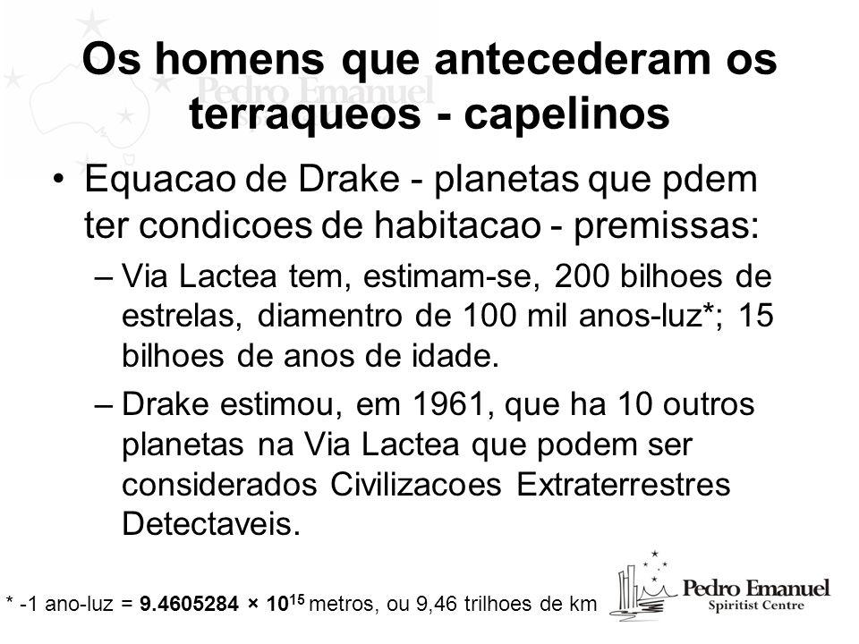 Os homens que antecederam os terraqueos - capelinos Equacao de Drake - planetas que pdem ter condicoes de habitacao - premissas: –Via Lactea tem, esti