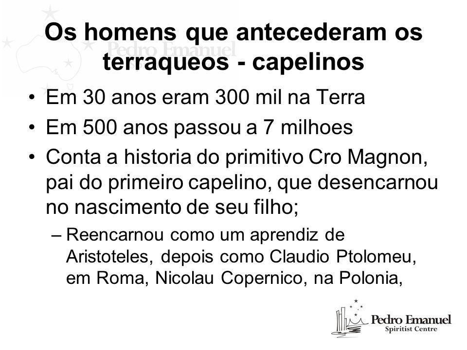 Os homens que antecederam os terraqueos - capelinos Em 30 anos eram 300 mil na Terra Em 500 anos passou a 7 milhoes Conta a historia do primitivo Cro