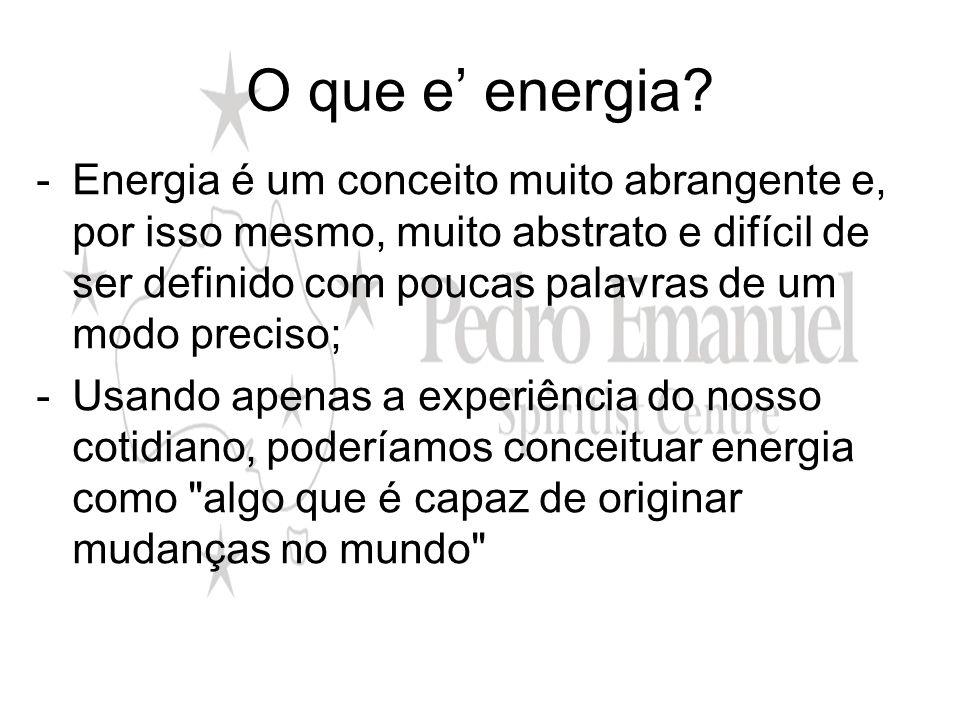 O que e energia? -Energia é um conceito muito abrangente e, por isso mesmo, muito abstrato e difícil de ser definido com poucas palavras de um modo pr