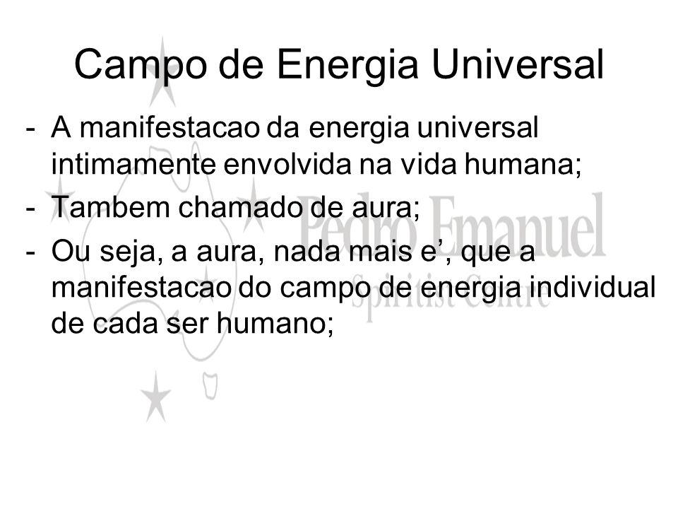 Campo de Energia Universal -A manifestacao da energia universal intimamente envolvida na vida humana; -Tambem chamado de aura; -Ou seja, a aura, nada