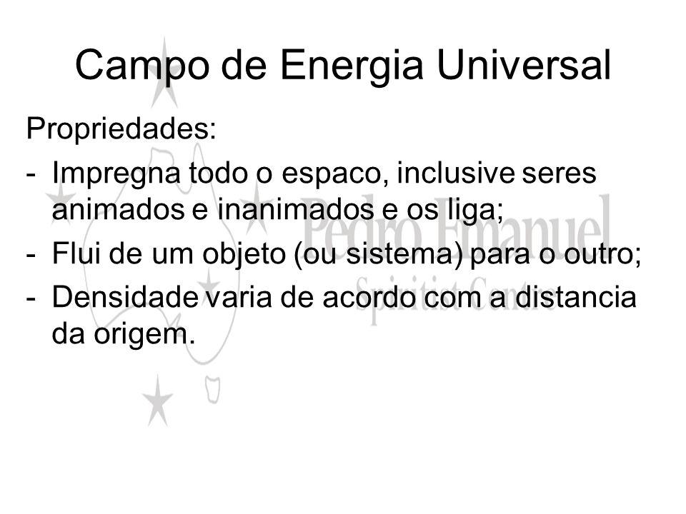 Campo de Energia Universal Propriedades: -Impregna todo o espaco, inclusive seres animados e inanimados e os liga; -Flui de um objeto (ou sistema) par