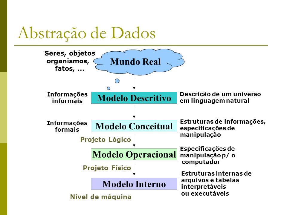 Abstração de Dados Mundo Real Seres, objetos organismos, fatos,... Modelo Descritivo Informações informais Descrição de um universo em linguagem natur