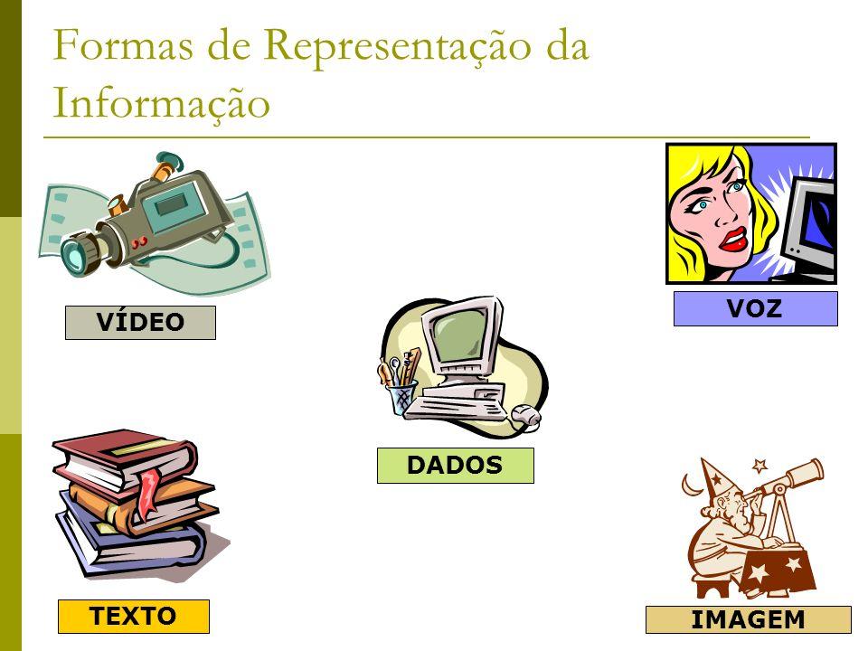 Formas de Representação da Informação DADOS IMAGEM TEXTO VOZ VÍDEO