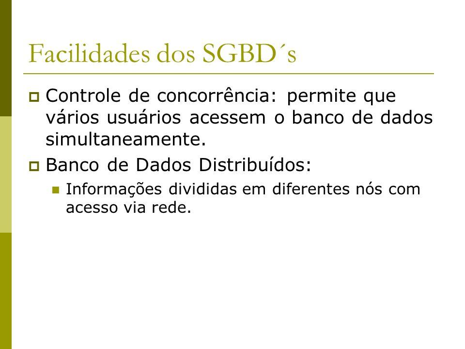 Facilidades dos SGBD´s Controle de concorrência: permite que vários usuários acessem o banco de dados simultaneamente. Banco de Dados Distribuídos: In