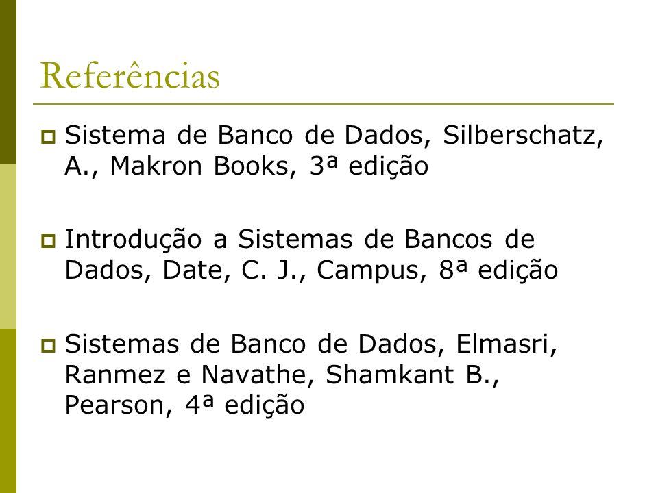 Referências Sistema de Banco de Dados, Silberschatz, A., Makron Books, 3ª edição Introdução a Sistemas de Bancos de Dados, Date, C. J., Campus, 8ª edi