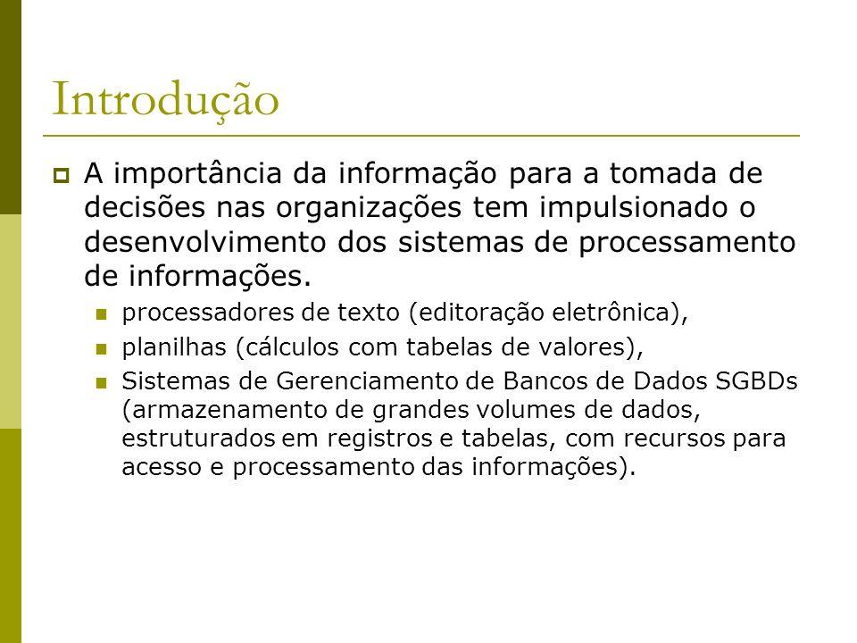 Introdução Banco de Dados é uma coleção de dados interrelacionados, representando informações sobre um domínio específico.