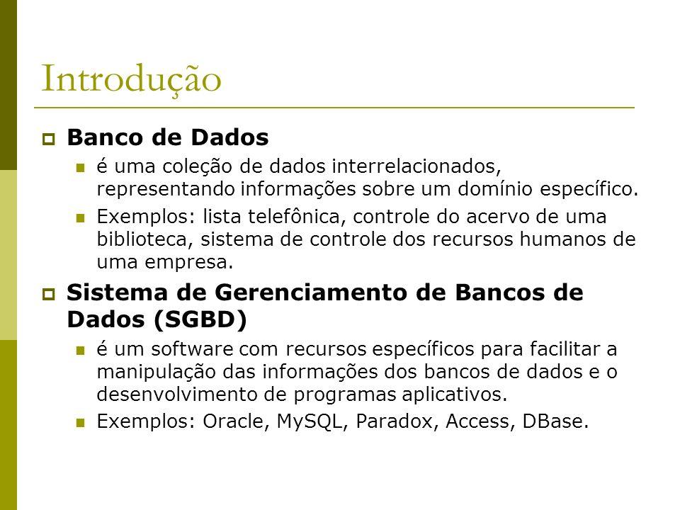 Introdução Banco de Dados é uma coleção de dados interrelacionados, representando informações sobre um domínio específico. Exemplos: lista telefônica,