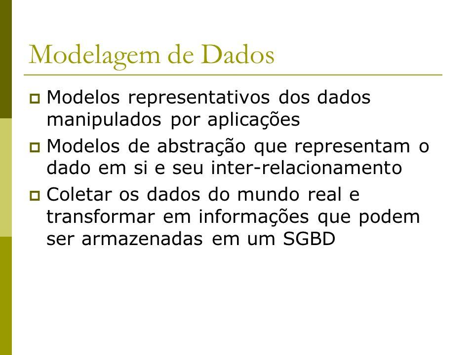 Linguagens DDL (Data Definition Language) Linguagem de definição de dados Especifica o esquema do BD DML (Data Manipulation Language) Linguagem de manipulação de dados Manipulação dos dados como organizados pelo modelo de dados apropriado Linguagem de Consulta Porção da linguagem de manipulação que envolve o resgate de informações
