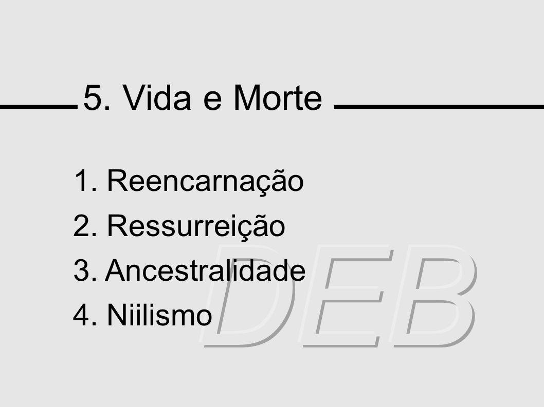 5. Vida e Morte 1. Reencarnação 2. Ressurreição 3. Ancestralidade 4. Niilismo