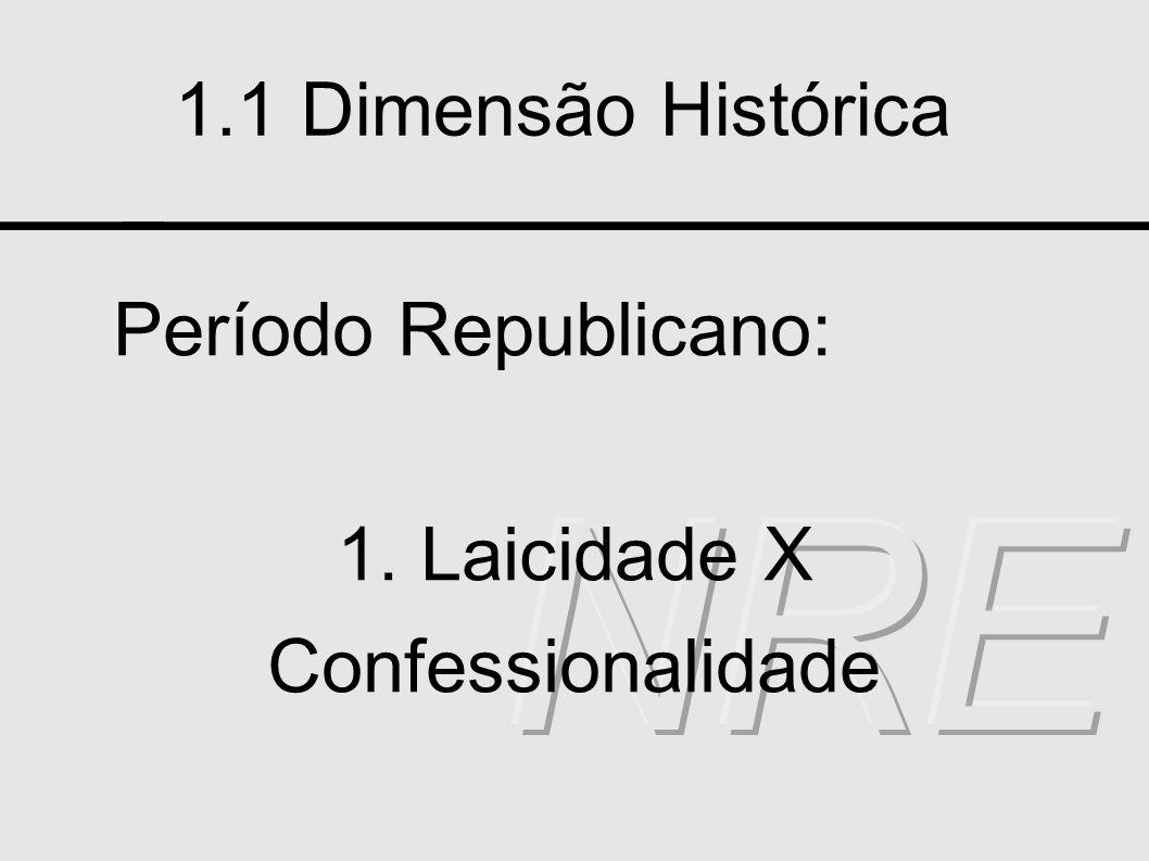 1.1 Dimensão Histórica Período Republicano: 1. Laicidade X Confessionalidade