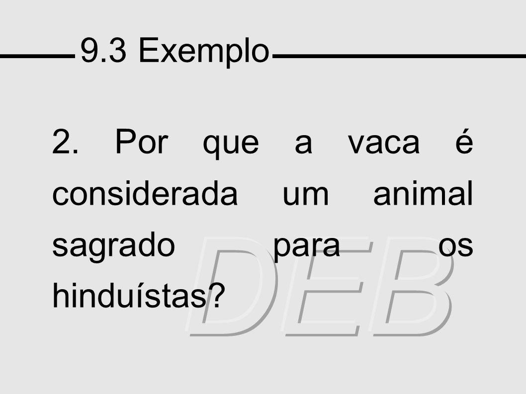 9.3 Exemplo 2. Por que a vaca é considerada um animal sagrado para os hinduístas?
