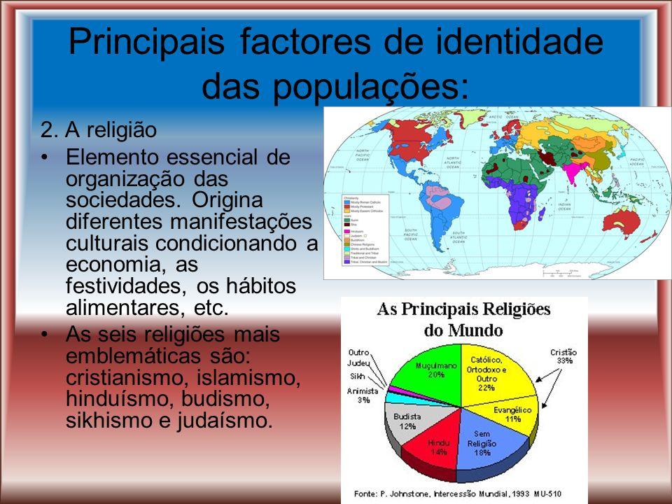 Principais factores de identidade das populações: 1. A língua É um princípio unificador dos povos. Há tendência para a diglosia: língua vernacular par
