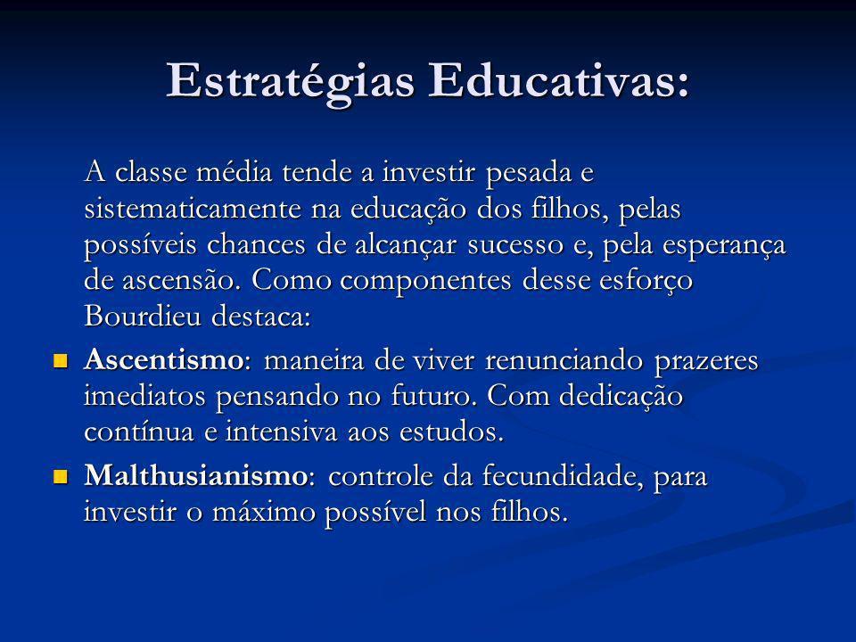 Estratégias Educativas: A classe média tende a investir pesada e sistematicamente na educação dos filhos, pelas possíveis chances de alcançar sucesso