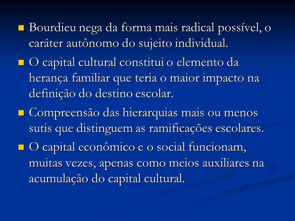 Bourdieu nega da forma mais radical possível, o caráter autônomo do sujeito individual. Bourdieu nega da forma mais radical possível, o caráter autôno