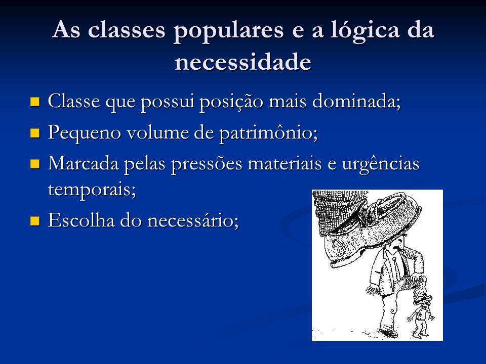 As classes populares e a lógica da necessidade Classe que possui posição mais dominada; Classe que possui posição mais dominada; Pequeno volume de pat