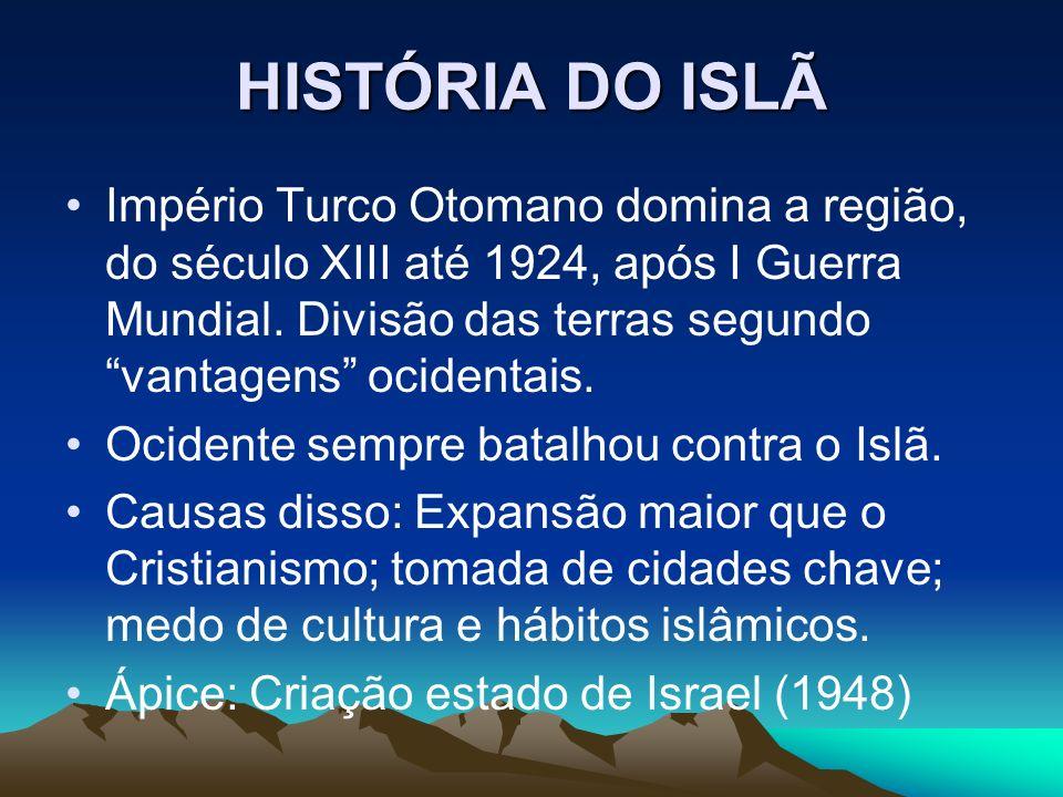 HISTÓRIA DO ISLÃ Império Turco Otomano domina a região, do século XIII até 1924, após I Guerra Mundial. Divisão das terras segundo vantagens ocidentai