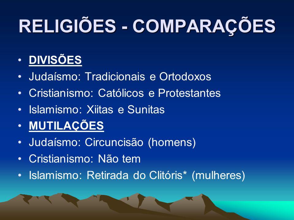 RELIGIÕES - COMPARAÇÕES DIVISÕES Judaísmo: Tradicionais e Ortodoxos Cristianismo: Católicos e Protestantes Islamismo: Xiitas e Sunitas MUTILAÇÕES Juda