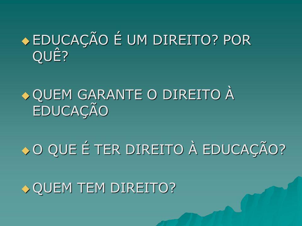 EDUCAÇÃO É UM DIREITO? POR QUÊ? EDUCAÇÃO É UM DIREITO? POR QUÊ? QUEM GARANTE O DIREITO À EDUCAÇÃO QUEM GARANTE O DIREITO À EDUCAÇÃO O QUE É TER DIREIT