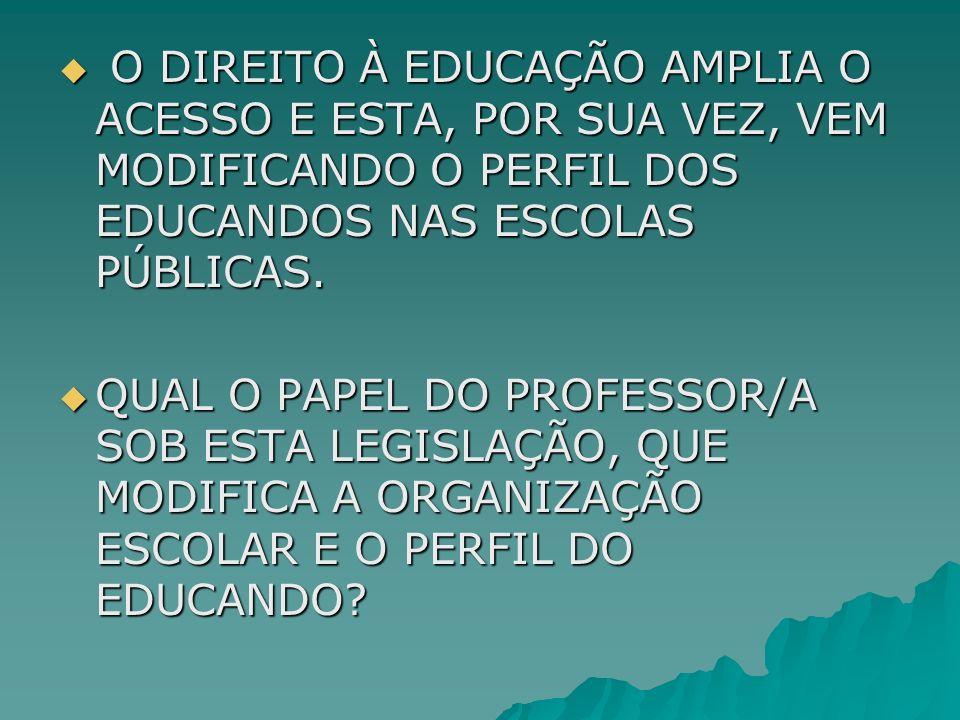 O DIREITO À EDUCAÇÃO AMPLIA O ACESSO E ESTA, POR SUA VEZ, VEM MODIFICANDO O PERFIL DOS EDUCANDOS NAS ESCOLAS PÚBLICAS. O DIREITO À EDUCAÇÃO AMPLIA O A