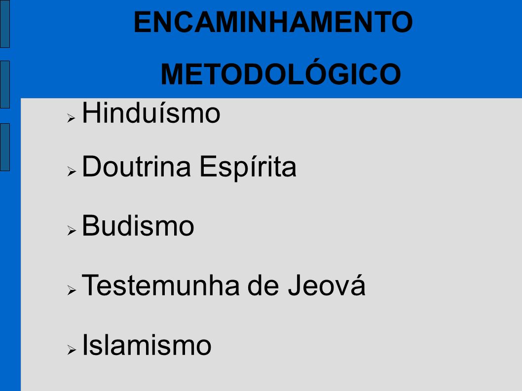 Hinduísmo Doutrina Espírita Budismo Testemunha de Jeová Islamismo ENCAMINHAMENTO METODOLÓGICO