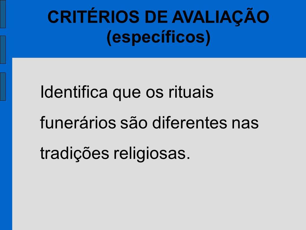 CRITÉRIOS DE AVALIAÇÃO (específicos) Identifica que os rituais funerários são diferentes nas tradições religiosas.