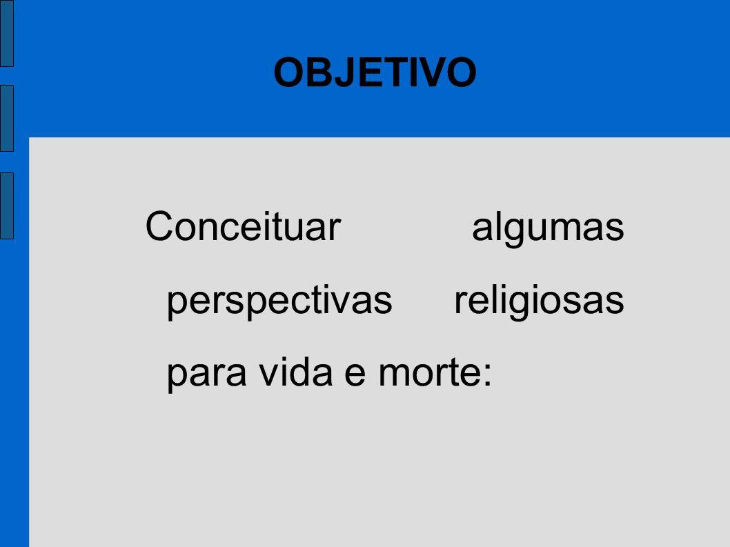 Conceituar algumas perspectivas religiosas para vida e morte: OBJETIVO