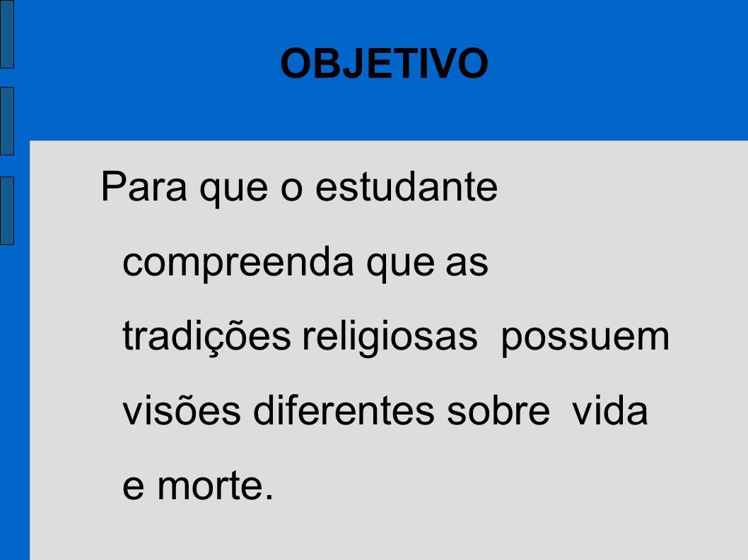Para que o estudante compreenda que as tradições religiosas possuem visões diferentes sobre vida e morte. OBJETIVO