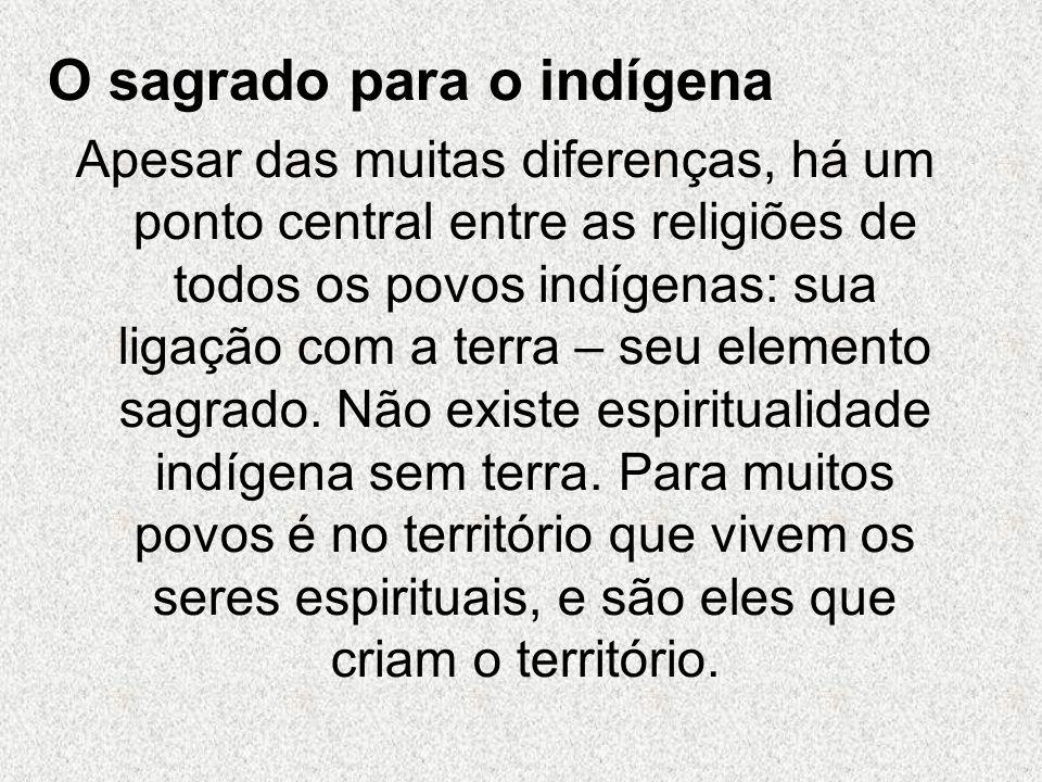 O sagrado para o indígena Apesar das muitas diferenças, há um ponto central entre as religiões de todos os povos indígenas: sua ligação com a terra – seu elemento sagrado.