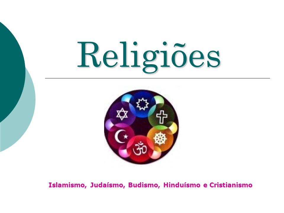 Religiões Islamismo, Judaísmo, Budismo, Hinduísmo e Cristianismo