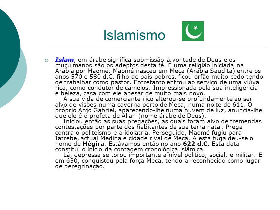 Islamismo Islam Islam, em árabe significa submissão à vontade de Deus e os muçulmanos são os adeptos desta fé. É uma religião iniciada na Arábia por M