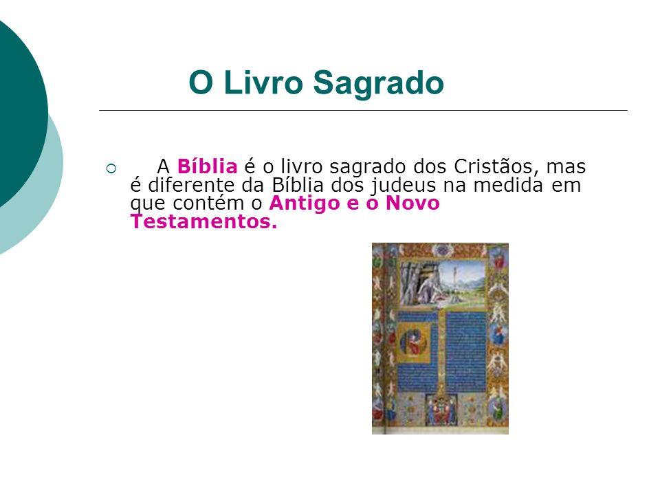 O Livro Sagrado A Bíblia é o livro sagrado dos Cristãos, mas é diferente da Bíblia dos judeus na medida em que contém o Antigo e o Novo Testamentos.