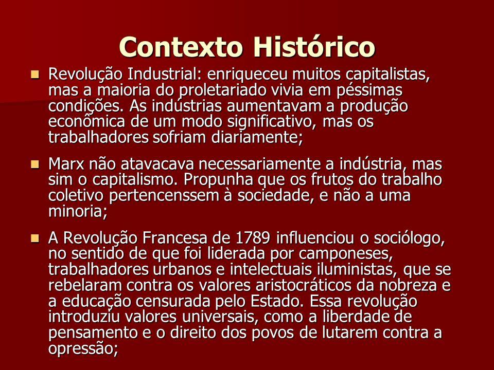 Contexto Histórico Revolução Industrial: enriqueceu muitos capitalistas, mas a maioria do proletariado vivia em péssimas condições. As indústrias aume