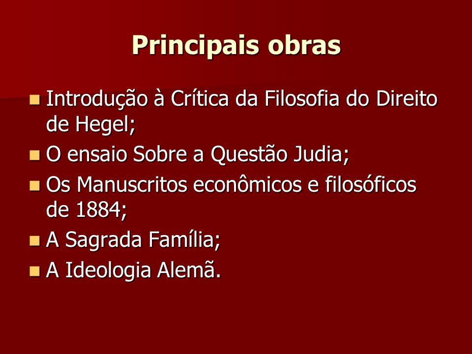 Principais obras Introdução à Crítica da Filosofia do Direito de Hegel; Introdução à Crítica da Filosofia do Direito de Hegel; O ensaio Sobre a Questã