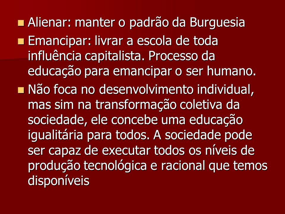 Alienar: manter o padrão da Burguesia Alienar: manter o padrão da Burguesia Emancipar: livrar a escola de toda influência capitalista. Processo da edu