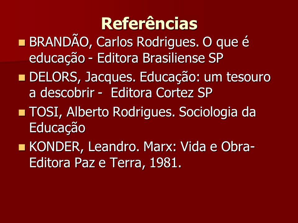Referências BRANDÃO, Carlos Rodrigues. O que é educação - Editora Brasiliense SP BRANDÃO, Carlos Rodrigues. O que é educação - Editora Brasiliense SP