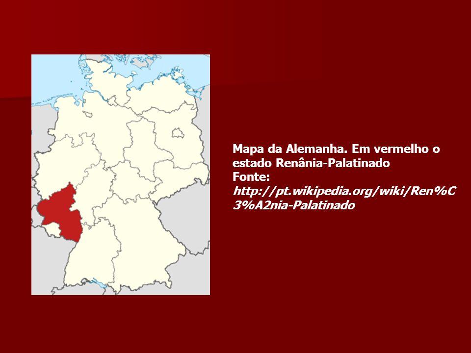 Mapa da Alemanha. Em vermelho o estado Renânia-Palatinado Fonte: http://pt.wikipedia.org/wiki/Ren%C 3%A2nia-Palatinado