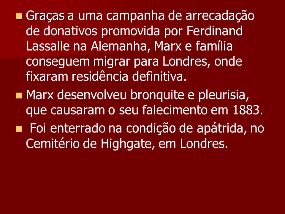 Graças Graças a uma campanha de arrecadação de donativos promovida por Ferdinand Lassalle na Alemanha, Marx e família conseguem migrar para Londres, o