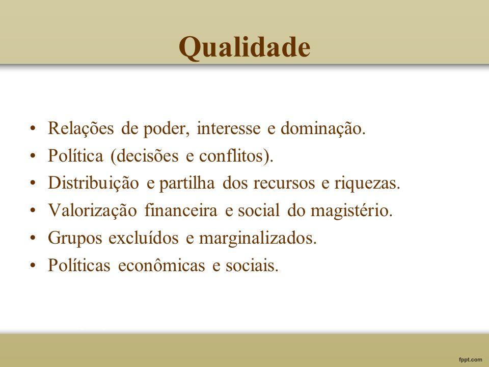 Qualidade Relações de poder, interesse e dominação. Política (decisões e conflitos). Distribuição e partilha dos recursos e riquezas. Valorização fina
