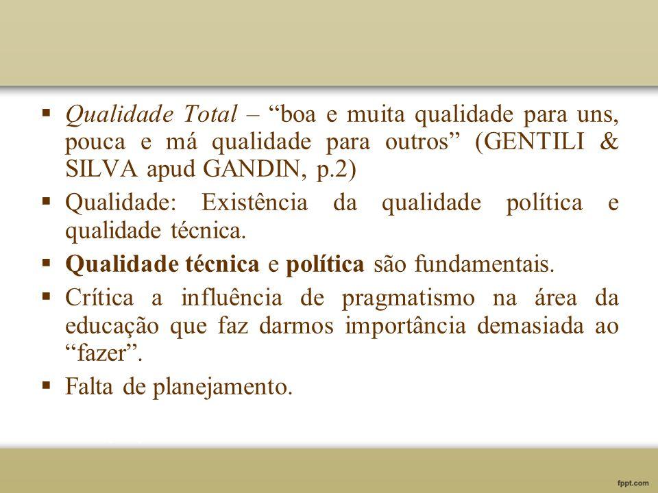 Qualidade Total – boa e muita qualidade para uns, pouca e má qualidade para outros (GENTILI & SILVA apud GANDIN, p.2) Qualidade: Existência da qualida