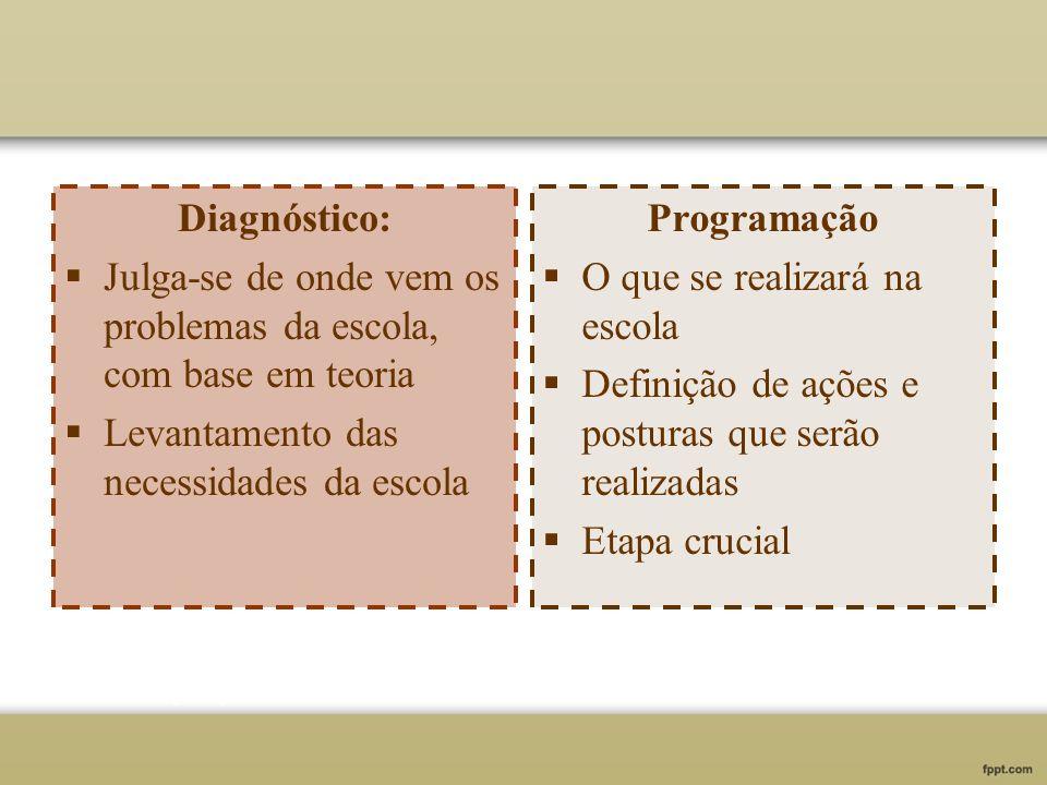 Diagnóstico: Julga-se de onde vem os problemas da escola, com base em teoria Levantamento das necessidades da escola Programação O que se realizará na