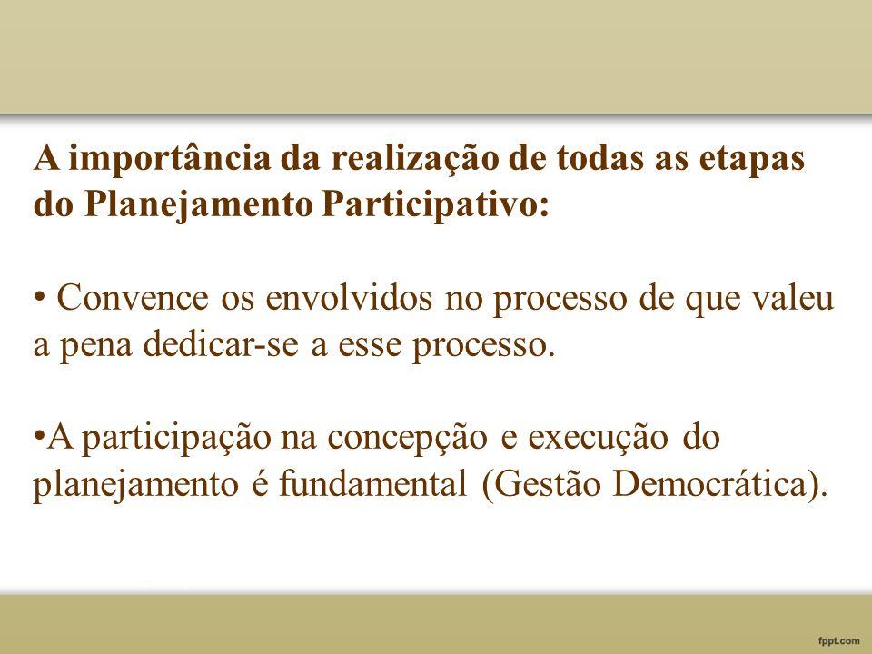 A importância da realização de todas as etapas do Planejamento Participativo: Convence os envolvidos no processo de que valeu a pena dedicar-se a esse