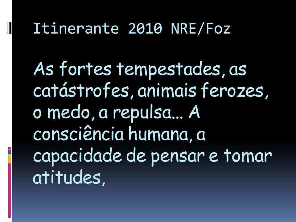 Itinerante 2010 NRE/Foz As fortes tempestades, as catástrofes, animais ferozes, o medo, a repulsa... A consciência humana, a capacidade de pensar e to