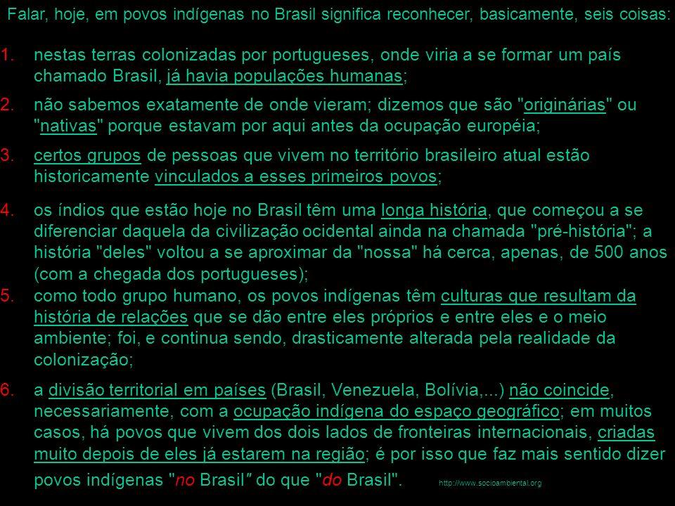 Falar, hoje, em povos indígenas no Brasil significa reconhecer, basicamente, seis coisas: 1.nestas terras colonizadas por portugueses, onde viria a se