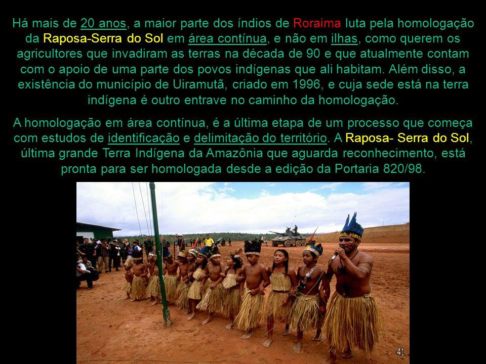 Há mais de 20 anos, a maior parte dos índios de Roraima luta pela homologação da Raposa-Serra do Sol em área contínua, e não em ilhas, como querem os