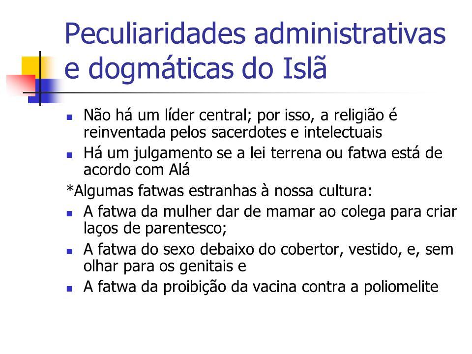 Peculiaridades administrativas e dogmáticas do Islã Não há um líder central; por isso, a religião é reinventada pelos sacerdotes e intelectuais Há um
