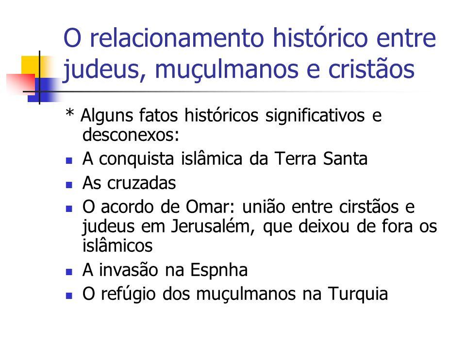 O relacionamento histórico entre judeus, muçulmanos e cristãos * Alguns fatos históricos significativos e desconexos: A conquista islâmica da Terra Sa