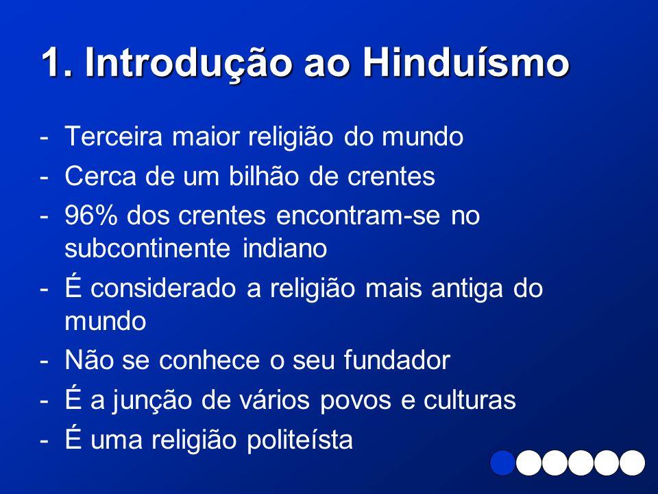 1. Introdução ao Hinduísmo - Terceira maior religião do mundo -Cerca de um bilhão de crentes -96% dos crentes encontram-se no subcontinente indiano -É