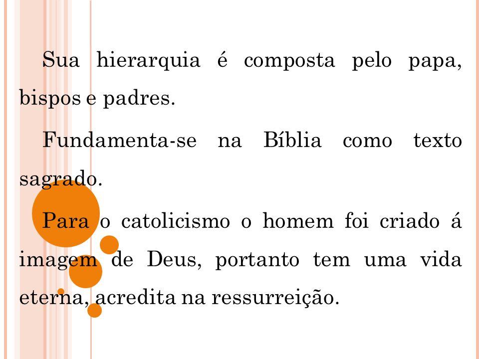 Sua hierarquia é composta pelo papa, bispos e padres. Fundamenta-se na Bíblia como texto sagrado. Para o catolicismo o homem foi criado á imagem de De